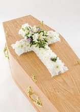 White, cross, funeral, tribute, wreath, flowers, Gravesend, florist, delivery