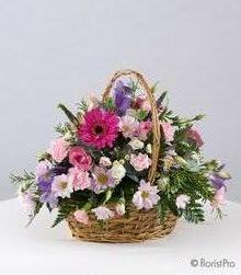 pink, purple, gerbera, freesia, basket, arrangement, www.thegravesendflorist.co.uk