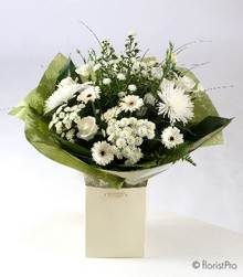 white, rose, gerbera, chrysanthemum, handtie, gift, bouquet, www.thegravesendflorist.co.uk