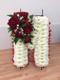 Letter, stand, frame, funeral, tribute, wreath, flowers, Gravesend, florist, delivery