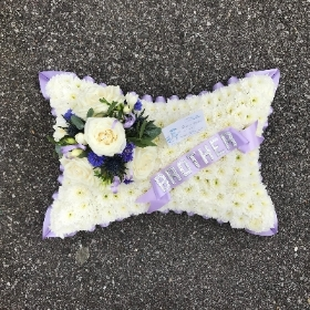 Pillow, cushion, funeral, tribute, flowers, wreath, Gravesend, florist, delivery