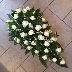 rose, coffin spray, funeral flowers, funeral tribute, gravesend, florist