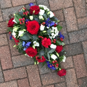 Red, white, blue, funeral, flowers, tribute, spray, Gravesend, kent