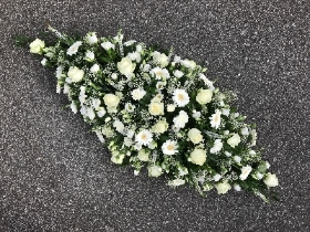 White, rose, gerbera, carnation, coffin, spray, funeral, flowers, tribute, Gravesend, florist, Kent
