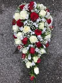 Red, white, rose, spray, funeral, flowers, tribute, florist, Gravesend, kent