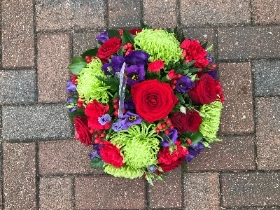 Bright, posy, oasis, red, green, purple, funeral, flowers, Gravesend, Florist, Kent, tribute