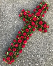 Rose, cross, coffin, funeral, flowers, florist, tribute, wreath, Gravesend, delivery