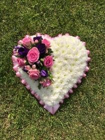 Heart, Pink, purple, white, funeral, tribute, flowers, wreath, florist, Gravesend, delivery