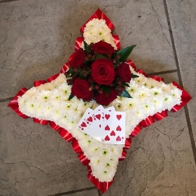 Playing, card, ace, cushion, funeral, tribute, flowers, wreath, Gravesend, florist, delivery