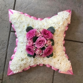 Cushion, pillow, funeral, tribute, flowers, wreath, Gravesend, florist, delivery