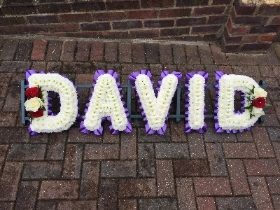 Name, letters, funeral, tribute, wreath, flowers, Gravesend, florist, delivery