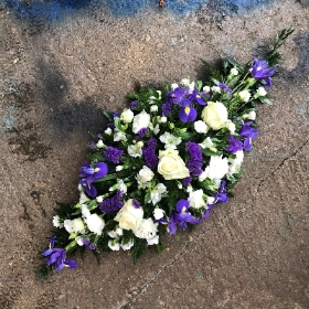Purple, white, funeral, oasis, spray, wreath, flowers, florist, Gravesend, delivery