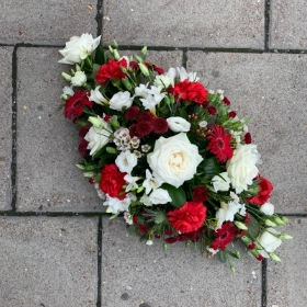 Red, white, funeral, spray, oasis, wreath, flowers, Gravesend, florist, delivery