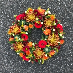 Autumnal, autumn, wreath, funeral, tribute, flowers, Gravesend, florist, delivery