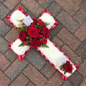 Red, white, rose, cross, funeral, tribute, flowers, wreath, Gravesend, florist, delivery