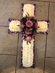 Purple, lilac, white, funeral, cross, tribute, wreath, Gravesend, florist, delivery