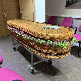 Wicker, coffin, garland, freesia, pink, white, funeral, Gravesend, Florist, flowers, delivery