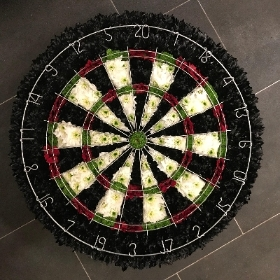 Dartboard, darts, funeral, tribute, flowers, Gravesend, Florist, delivery