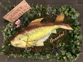 Fishing, fish, funeral, tribute, scales, leaves, flowers, wreath, Gravesend, Florist, delivery