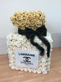 Funeral, tribute, flowers, wreath, gypsy, traveller, perfume, bottle, Chanel, 3d, standing, roses
