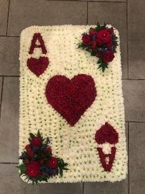 Playing card, ace of hearts, poker, deck, funeral, flowers, tribute, wreath, Gravesend, kent
