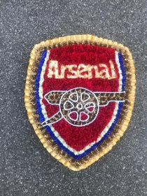 Arsenal, gunners, afc, football, shield, cannon, logo, funeral, flowers, tribute, wreath, Gravesend, kent, london
