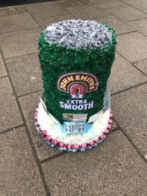 John smiths, beer, bitter, drink, can, tin, 3D, Funeral, sympathy, wreath, tribute, flowers, floral, Gravesend, kent, london