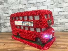 London, double, decker, routemaster, bus, red, traditional, retro, Funeral, sympathy, wreath, tribute, flowers, florist, Gravesend, northfleet, Kent, London