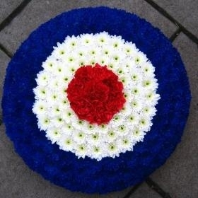 RAF, roundel, red, white, blue, mod, Funeral, tribute, sympathy, flowers, wreath, florist, Gravesend, northfleet, Kent, London