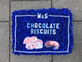 Biscuit, m&s, tin, box, chocolate, Funeral, sympathy, wreath, flowers, tribute, florist, Gravesend, northfleet, Kent, London