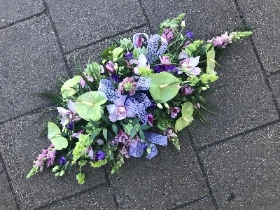 Lilac, purple, lime, green, tropical, scented, coffin, spray, casket, oasis, Funeral, sympathy, wreath, tribute, flowers, florist, gravesend, Northfleet, Kent, london