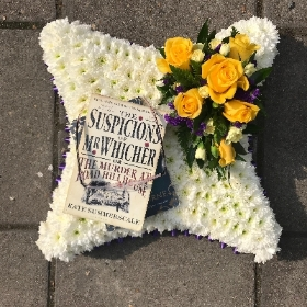 Pillow, cushion, book, work, reading, reader, glasses, Funeral, sympathy, wreath, tribute, flowers, florist, gravesend, Northfleet, Kent, london