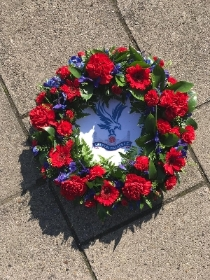 Football, logo, team, Crystal Palace, red, blue, Funeral, sympathy, wreath, tribute, flowers, florist, gravesend, Northfleet, Kent, london