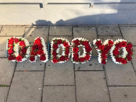 Funeral, name, letters, different, unusual, combination, white, loose, funeral, wreath, tribute, flowers, florist, gravesend, northfleet, kent