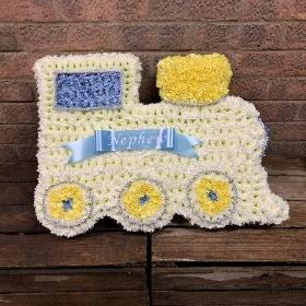 Baby, train, funeral, flowers, tribute, wreath, gravesend, northfleet, kent, florist