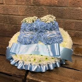 Baby, shoes, booties, funeral, flowers, tribute, wreath, gravesend, northfleet, florist, kent