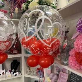 Entwined hearts bubble balloon