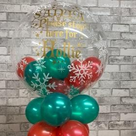 Santa, stop, here, personalised, bubble, balloon, Christmas, gravesend, northfleet