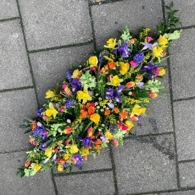 Bright, spring, vibrant, coffin, spray, Funeral, sympathy, wreath, tribute, flowers, florist, gravesend, Northfleet, Kent, london
