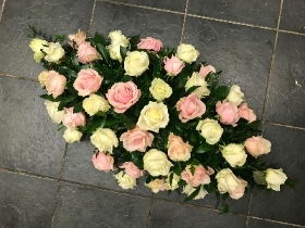 Pale, baby, pink, white, rose, coffin, spray, Funeral, sympathy, wreath, tribute, flowers, florist, gravesend, Northfleet, Kent, london