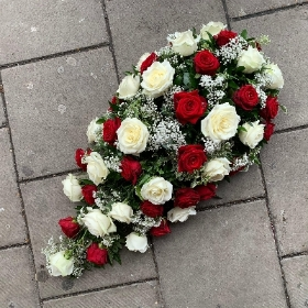 Red, white, rose, coffin, spray, Funeral, sympathy, wreath, tribute, flowers, florist, gravesend, Northfleet, Kent, london