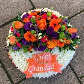 White, based, posy, vibrant, bright, Funeral, sympathy, wreath, tribute, flowers, florist, gravesend, Northfleet, Kent, london