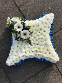 Blue, white, based, cushion, Funeral, sympathy, wreath, tribute, flowers, florist, gravesend, Northfleet, Kent, london