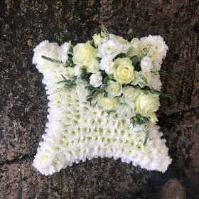 White, based, cushion, Funeral, sympathy, wreath, tribute, flowers, florist, gravesend, Northfleet, Kent, london