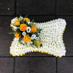 Yellow, white, based, pillow, Funeral, sympathy, wreath, tribute, flowers, florist, gravesend, Northfleet, Kent, london