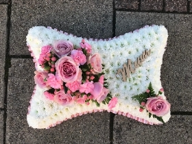 Pink, white, based, pillow, Funeral, sympathy, wreath, tribute, flowers, florist, gravesend, Northfleet, Kent, london