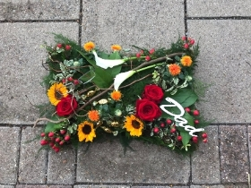 Woodland, natural, rustic, pillow, Funeral, sympathy, wreath, tribute, flowers, florist, gravesend, Northfleet, Kent, london