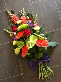Vibrant, bright, tied, sheaf, Funeral, sympathy, wreath, tribute, flowers, florist, gravesend, Northfleet, Kent, london