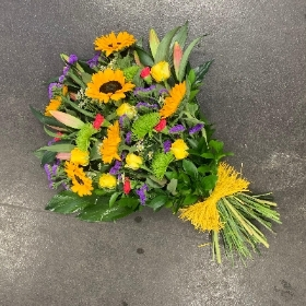 Sunflower, tied, sheaf, bright, vibrant, Funeral, sympathy, wreath, tribute, flowers, florist, gravesend, Northfleet, Kent, london