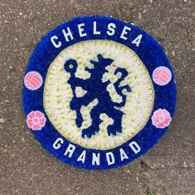 Chelsea, fc, football, lion, logo, badge, round, posy, Funeral, sympathy, wreath, tribute, flowers, florist, gravesend, Northfleet, Kent, london